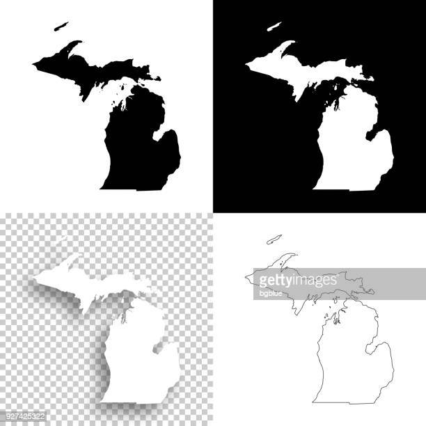 michigan maps for design - blank, white and black backgrounds - michigan stock illustrations