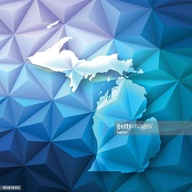 michigan on abstract polygonal background - low poly, geometric - detroit michigan map stock illustrations
