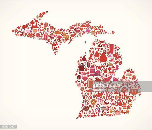 Michigan on Autumn Seasonal royalty free vector art Pattern