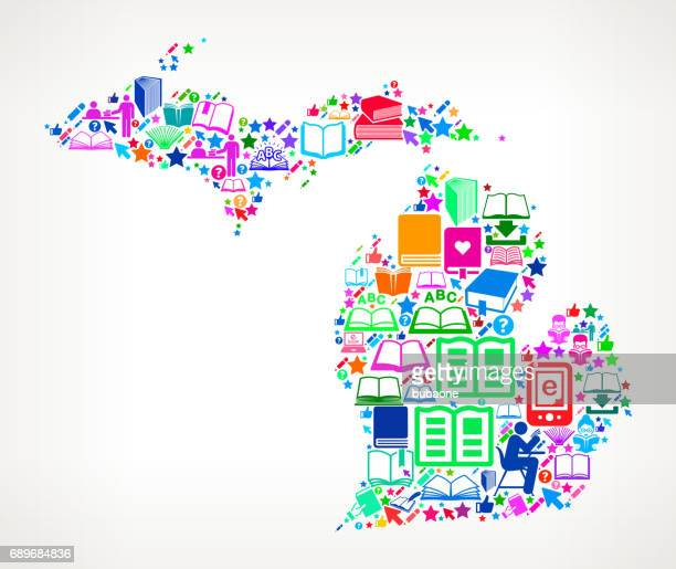 michigan reading books and education vector icons background - bookstand stock illustrations, clip art, cartoons, & icons