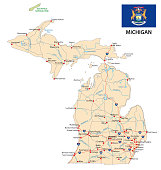 michigan road map with flag