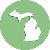 Michigan Round Map Icon