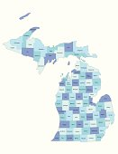 Michigan state - county map