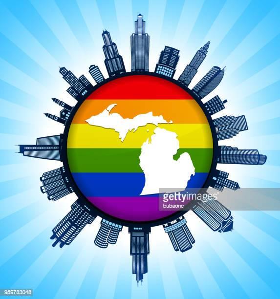 ゲイ プライド都市のスカイラインの背景にミシガン州地図 - 結婚の平等点のイラスト素材/クリップアート素材/マンガ素材/アイコン素材