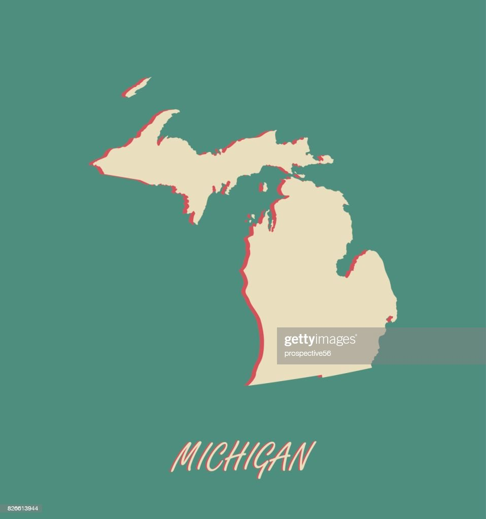 Michigan State Of Us Map Vector Outlines In A 3d Illustration - Us-map-michigan-state