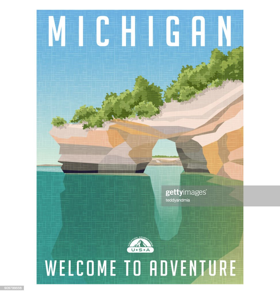 Michigan travel poster. Sandstone cliffs on Lake Superior shoreline.
