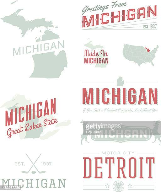michigan typography - michigan stock illustrations