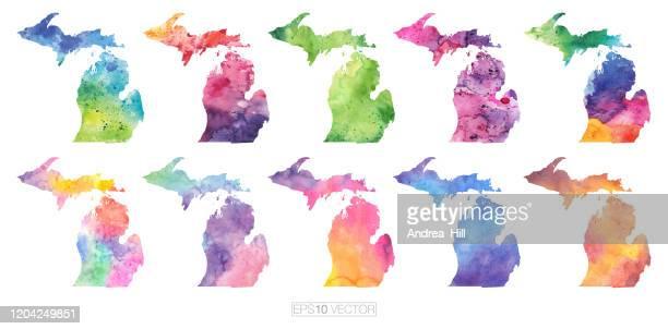 michigan watercolor vector map illustration set - michigan stock illustrations