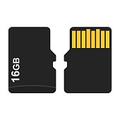 Micro SD Card from both sides isolated on white background. Vector illustration