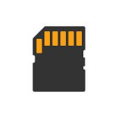 Micro SD card icon in flat style. Memory chip vector illustration on white isolated background. Storage adapter business concept.