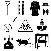 Microbiology vector icons set