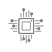 Microchip line icon. CPU, Central processing unit, computer processor, chip symbol in circle. Simple round icon isolated on black background. Creative modern vector logo