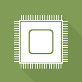 A Microchip web icon on an olive green background