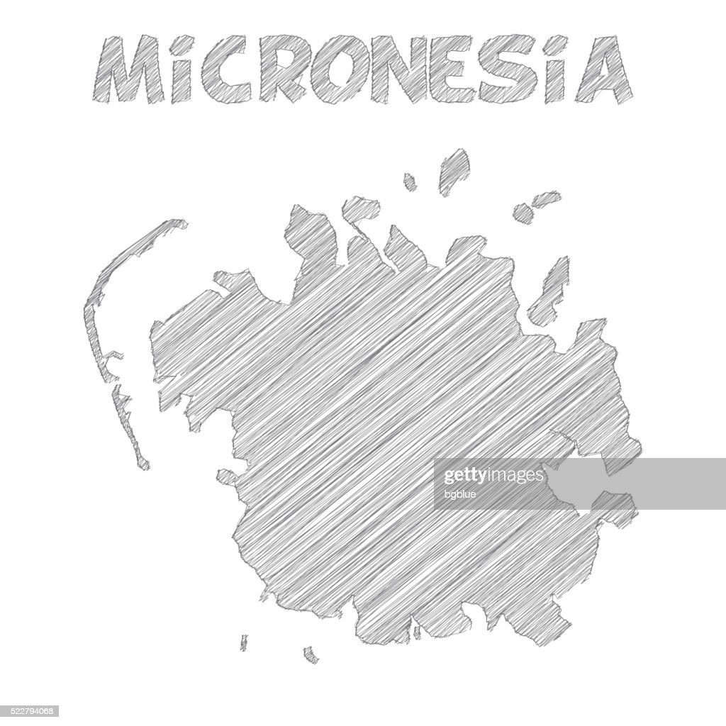 Micronesia map hand drawn on white background : stock illustration