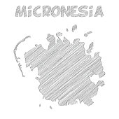 Micronesia map hand drawn on white background