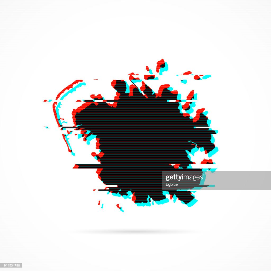 Micronesia map in distorted glitch style. Modern trendy effect : stock illustration