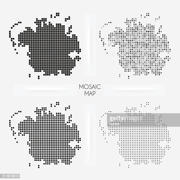 Micronesia maps - Mosaic squarred and dotted