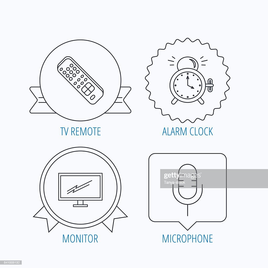 microphone, alarm clock and tv remote icons  : stock vector