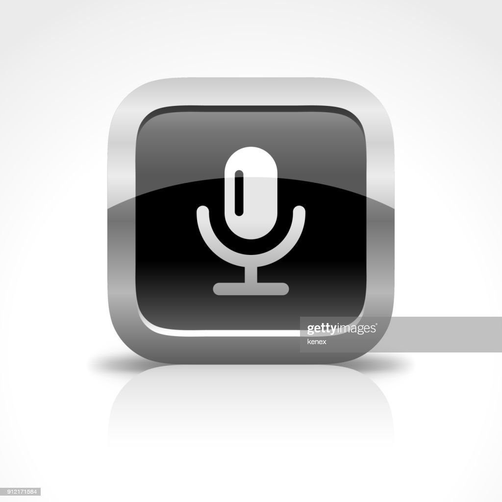 Microphone and Recording Glossy Button Icon : stock illustration