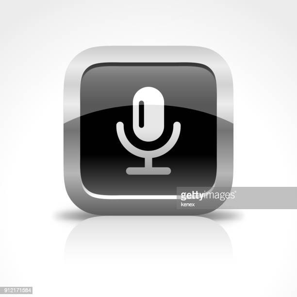 Microphone and Recording Glossy Button Icon
