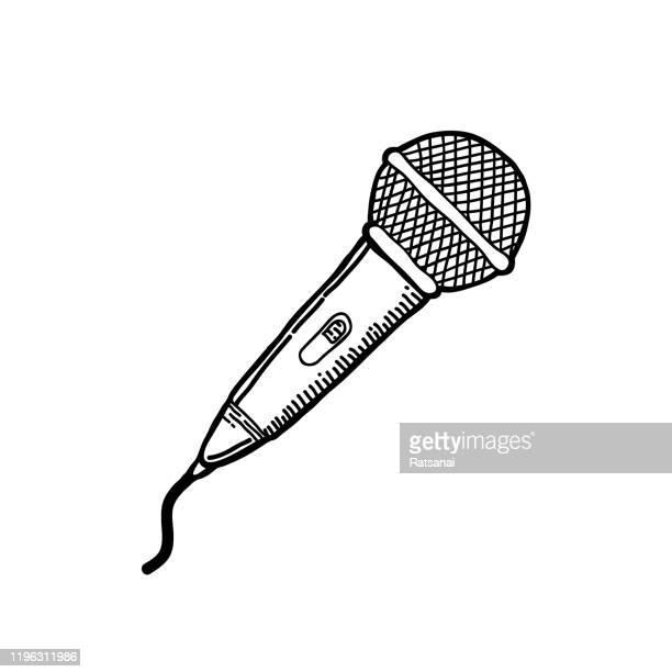 mikrofonzeichnung - mikrofon stock-grafiken, -clipart, -cartoons und -symbole