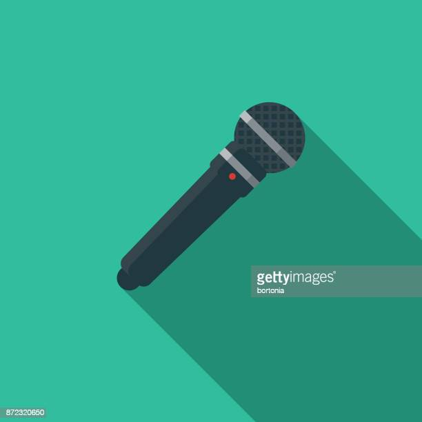 microphone flat design party icon with side shadow - karaoke stock illustrations