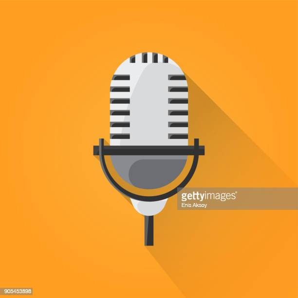 microphone flat icon - microphone transmission stock illustrations