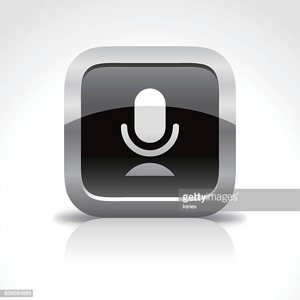microphone glossy button icon - podcasting stock illustrations, clip art, cartoons, & icons