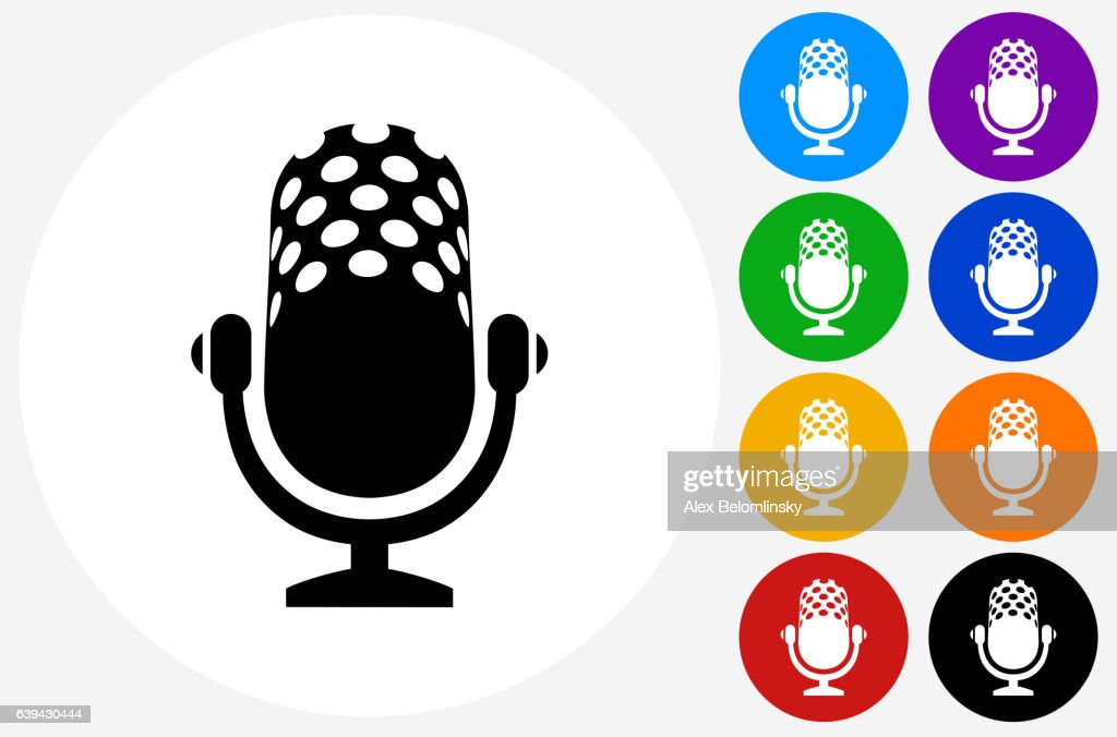 Microphone Icon on Flat Color Circle Buttons