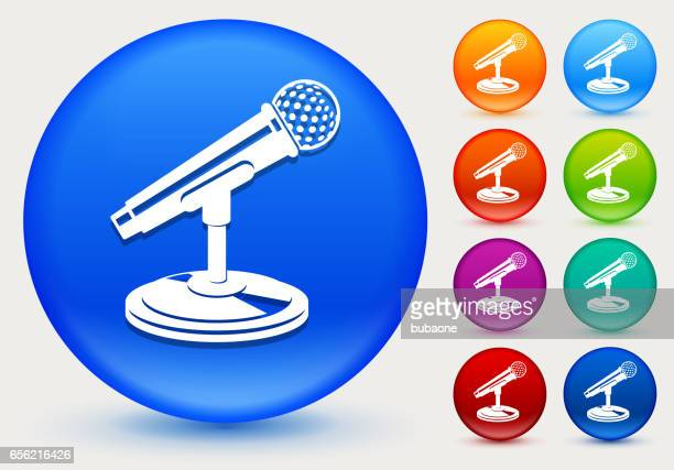 microphone icon on shiny color circle buttons - press conference stock illustrations, clip art, cartoons, & icons