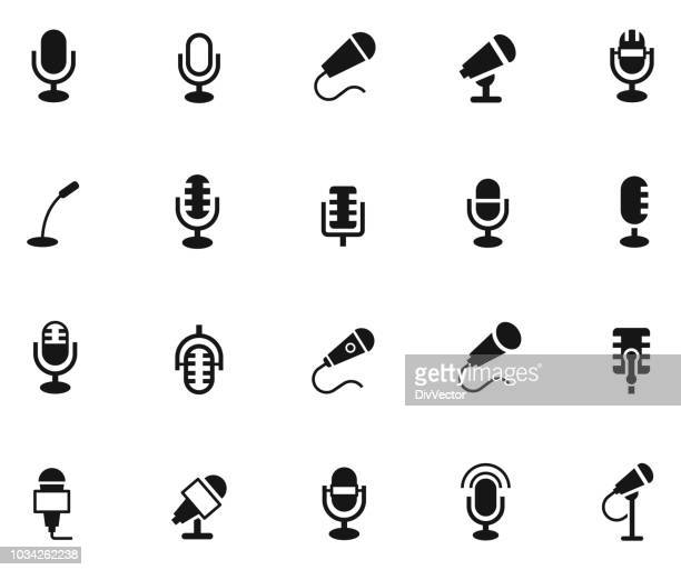 microphone icon set - microphone transmission stock illustrations