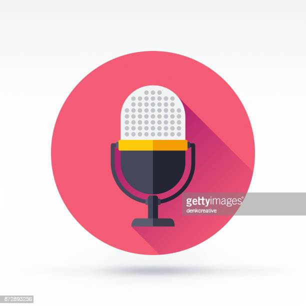 microphone icon - podcasting stock illustrations, clip art, cartoons, & icons
