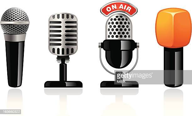 microphone icons - microphone transmission stock illustrations