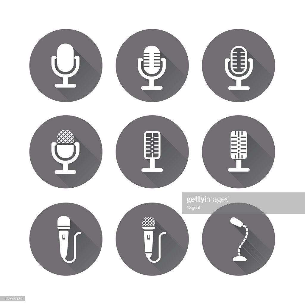 Microphone Icons with Long Shadow Vector