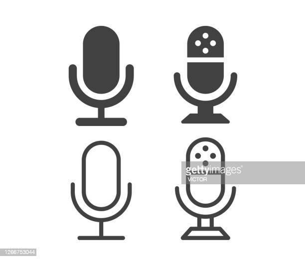 microphone - illustration icons - radio stock illustrations