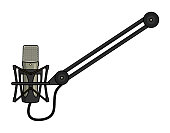 Microphone mounted on a boom arm.