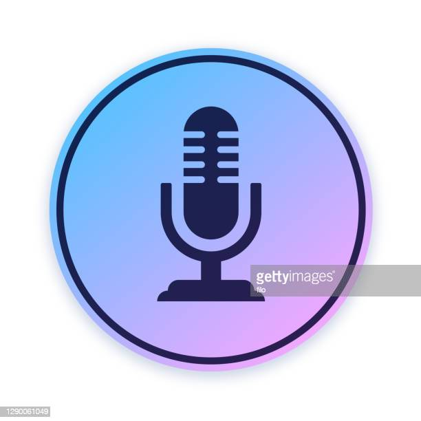 microphone podcast audio icon button - microphone stand stock illustrations