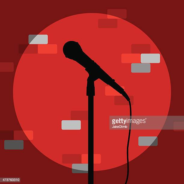 Microphone Silhouette Against Brick Wall