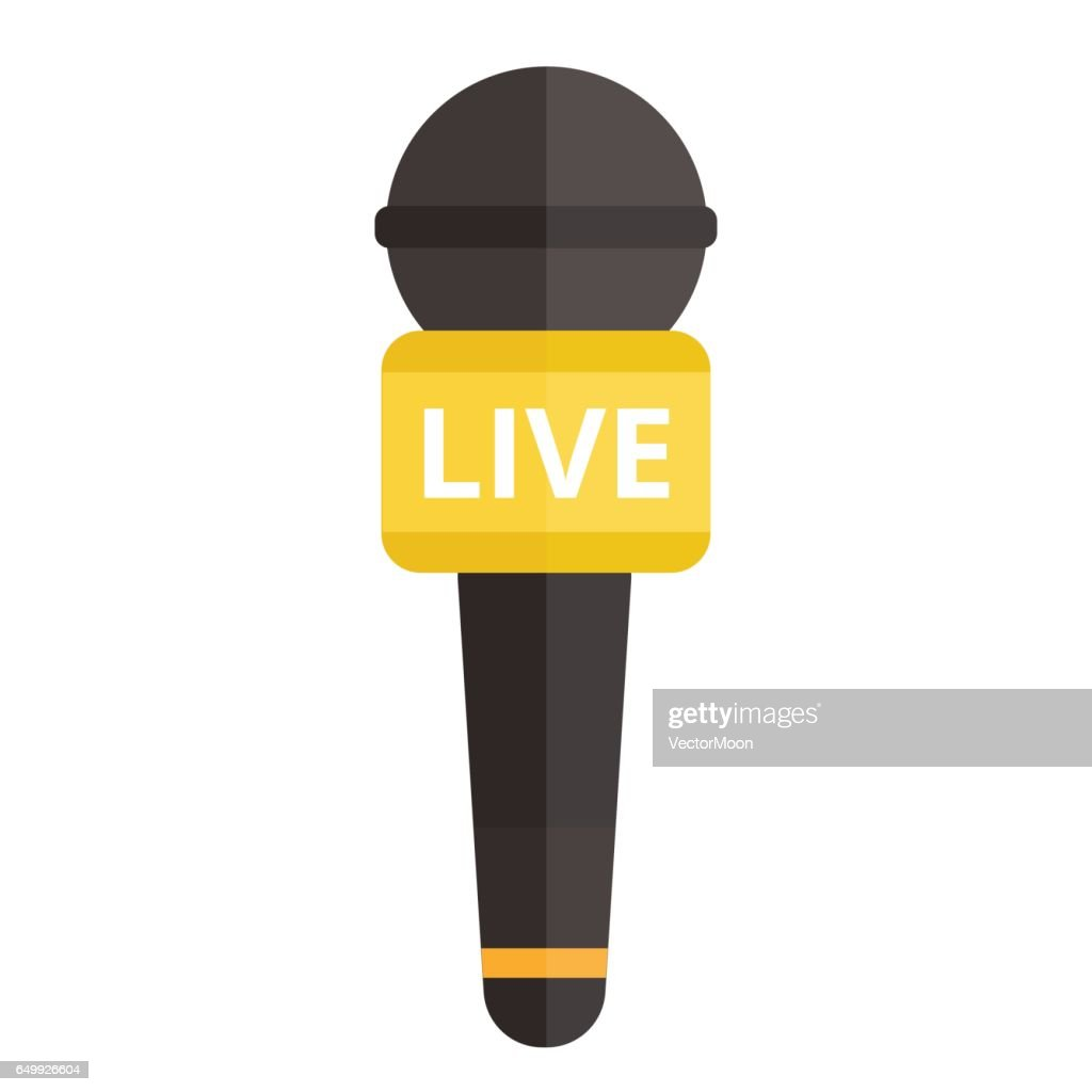 Microphone vector icon isolated interview music TV web broadcasting vocal tool show voice radio broadcast audio live record studio sound media