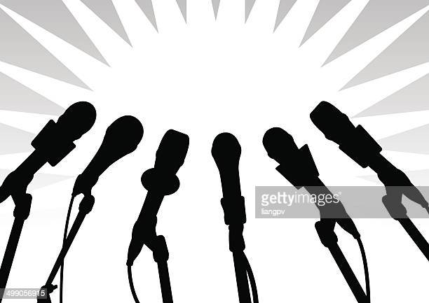 microphone - press conference stock illustrations, clip art, cartoons, & icons