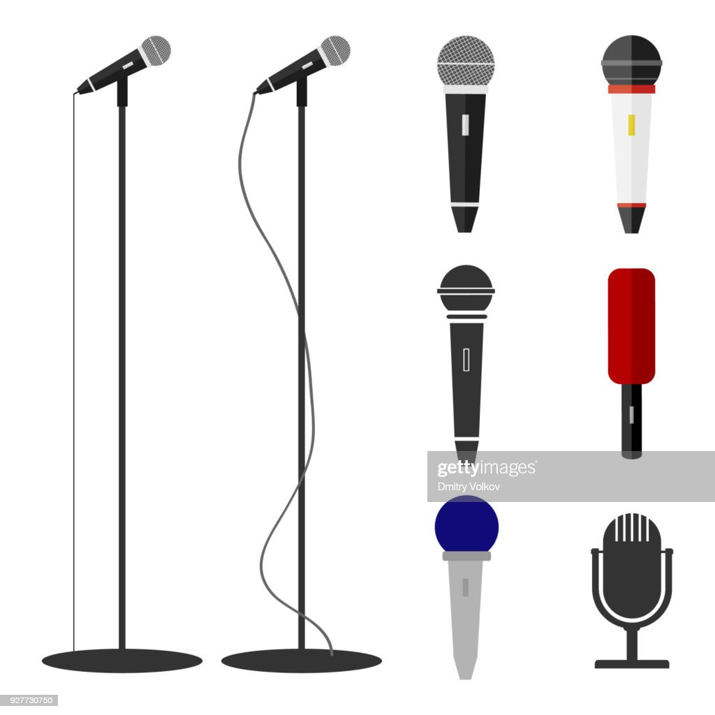 Microphones, a set of microphones. Standing microphone.