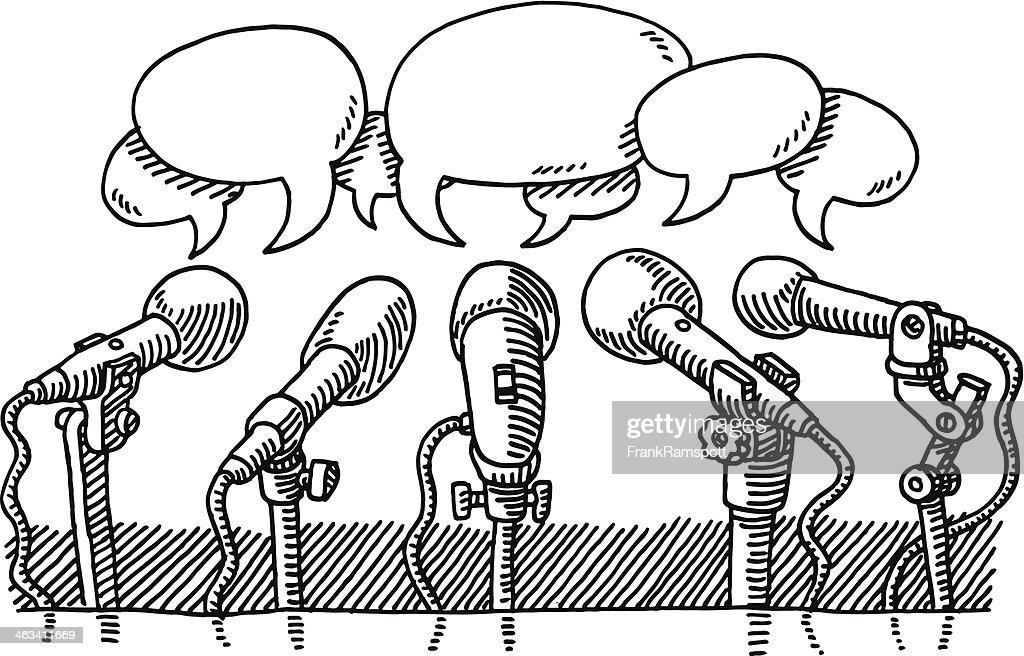 Mikrofone Drücken Sprechblasen Zeichnung : Stock-Illustration