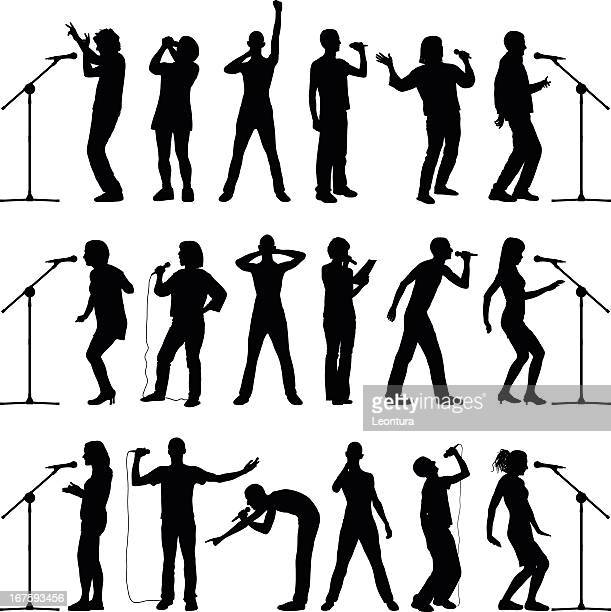 microphones - microphone stand stock illustrations