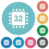Microprocessor 32 bit architecture flat round icons