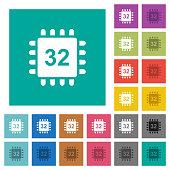 Microprocessor 32 bit architecture square flat multi colored icons