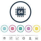Microprocessor 64 bit architecture flat color icons in round outlines