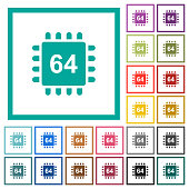 Microprocessor 64 bit architecture flat color icons with quadrant frames