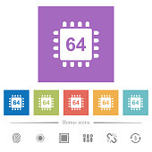 Microprocessor 64 bit architecture flat white icons in square backgrounds