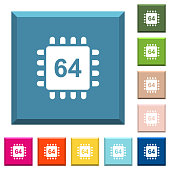 Microprocessor 64 bit architecture white icons on edged square buttons