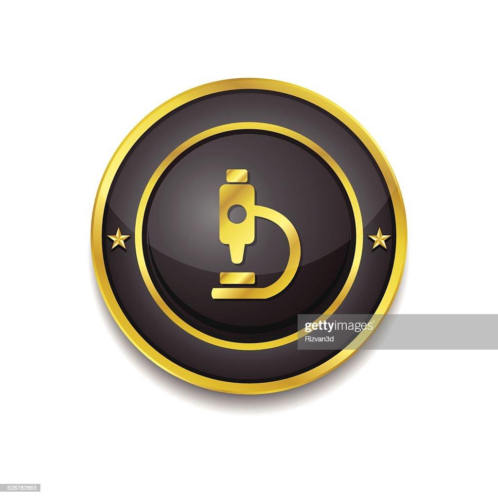 MIcroscope Gold Vector Icon Button